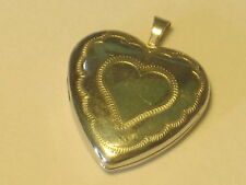 "heart small silver locket charm pendant marked "" ..  ?   10 kt "" jewelry"