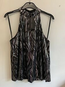 NEW LOOK - Black / Silver Glitzy Sequin Halter Neck Top - Size 8 New With Tags