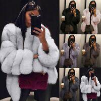 Plus Size Women Fluffy Faux Fur Jacket Ladies Winter Warm Coat Cardigans Outwear