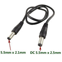 DC Power Plug 5.5 x 2.5mm Male To 5.5 x 2.1mm Male CCTV Adapter Connector Cable