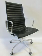 Genuine Herman Miller Eames Aluminum Group Executive Chair in Black Leather