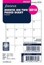 Filofax Pocket Size 2018 Month on 2 Pages Planner Insert Refill 18-68210