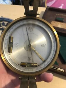 Antique brass W. & L.E. GURLEY surveying compass in wood box!!