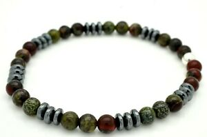 Mens Bracelet Dragon Bloodstone and Hematite with Sterling Silver Handmade in UK