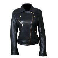 Womens Black Real Leather Jacket Genuine Lambskin Biker Moto Slim Fit Coat