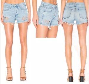 NWT 3X1 $310 Freja Flower Cut Out Denim Shorts in Einhorn Size 26
