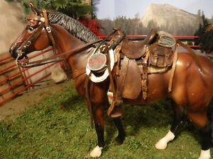 Custom weathered 1880's era Model Western Saddle for traditional Breyer horses