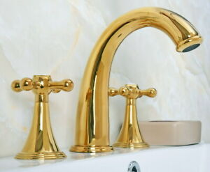 Luxury Gold Brass 8 inch Two Handles 3 Holes Widespread Bathroom Sink Faucet