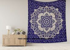 Ombre Mandala Blue Tapestry Hippie King Wall Hanging Cotton Boho Bedcover Throw