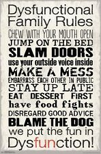 DYSFUNCTIONAL FAMILY RULES - FUNNY POSTER - 22x34 15218