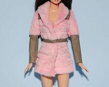 HOT! Pink Faux Fur Coat w/ Gray Faux Leather Trim Genuine BARBIE Fashion Jacket