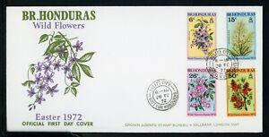 British Honduras Scott #292-295 FIRST DAY COVER Wild Flowers FLORA $$ TH-1