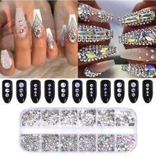 12 Grid/Case Nail Gems Rhinestone Crystal Diamond 3D Nail Art Charms Gems Decors