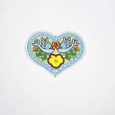 Blue Bird Heart (Iron On) Patch Embroidery Applique Sew Iron Badge