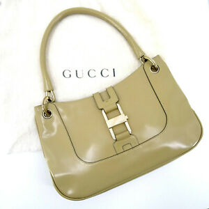 Gucci Patent Leather Baguette shoulder Bag in Brown & Dustbag - Made in Italy