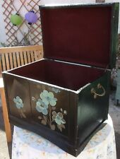 Large Vintage Wooden Box ~Retro Blanket Coffee Table Toys Storage Trunk