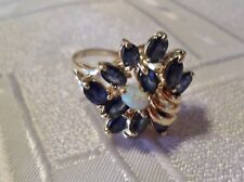 14K SOLID GOLD NATURAL BLUE SAPPHIRE, AUSTRALIAN OPAL GREAT COCKTAIL RING.SIZE 8