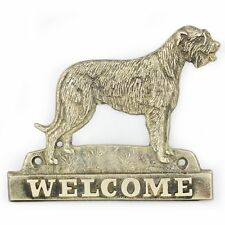 Irish Wolfhound - brass tablet with image of a dog, Art Dog
