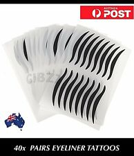 40x PAIRS Eyeliner Tattoo Sticker Wing Black Shadow Instant Eye Liner Makeup