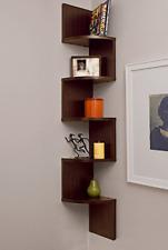 Small Bookshelf Corner Wall Mount Floating Shelves Storage Home Furniture Brown