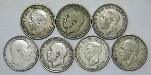 GREAT BRITAIN ONE SHILLING MIXED DATE LOW GRADE SILVER WORLD COIN LOT (7) 🌈⭐🌈