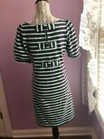NWT Anthropologie 9-h15 stcl Navy Teal Mint Striped Dress Bow Sz S