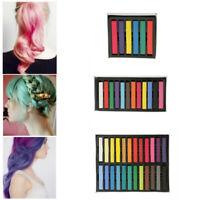 6/12/24 Colors Non-toxic Temporary DIY Hair Chalk Dye Soft Pastels Salon Kit