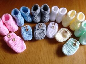 HANDMADE CROCHET BABY MITTENS AND BOOTEES