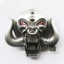 Skull w/ Long Bull Horn Belt Buckle
