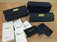 Authentic 2pc CHOPARD Blue Eyeglass Sunglass Hard Cases w/ Box