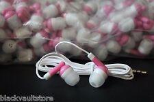 BULK Lot of 50 - PINK/WHITE - 3.5mm In-Ear Earbuds / Earphones - U.S. Shipper