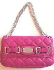 Michael Kors Hamilton Quilted Leather Shoulder Clutch Bag Fuschia Pink Handbag