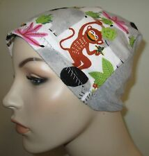 Kids Flannel Chemo Hat Monkeys, Elephant  Alopecia Sleep Child  Cap Cancer Hat