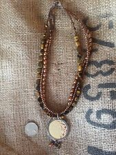 Silpada 3 Strand Tiger's Eye Necklace With SS And Bronze Pendant N1838