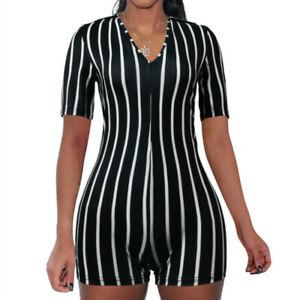 Lady Deep V Neck Jumpsuit Top Short Sleeve Striped Summer Clubwear Playsuit Slim