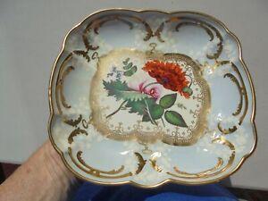 Antique Old Paris French Porcelain Rect Bowl w HP Flowers Gold Trim