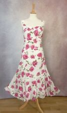 PER UNA PINK & WHITE FLORAL ROSES SOFT COTTON SUMMER DRESS 14 R