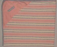 Eddie Bauer Hooded Baby Girl Receiving Blanket Pink Gray Stripe Hood Corner