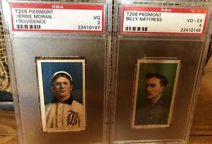 Pair Of 1909-11 T206 Herbie Moran & Billy Nattress Psa Mix Up Wrong Flip 3 4
