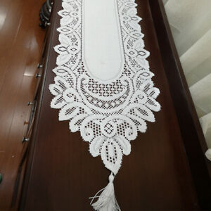 Lace Table Runner Wedding Tablecloth Home Dining Table Cover Doilies 13x70 in