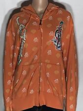 Don Ed Hardy Skull Sword True Love Tattoo You Womens Large Orange Jacket Hoodie