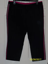 """ST JOHN'S BAY"" ACTIVEWEAR Size XL Black & Pink Work-Out 100% Polyester CAPRI"