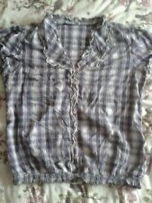 CLOCKHOUSE CHECKED SHIRT/BLOUSE-LILAC & GREY-SIZE 16-USED
