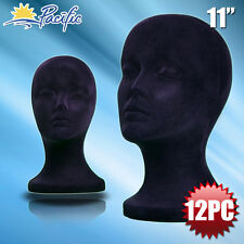 "11"" STYROFOAM FOAM black velvet MANNEQUIN MANIKIN head display wig hat glass12pc"