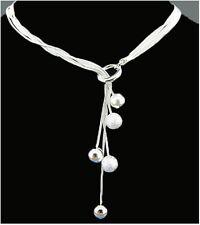 Tolle Halskette, 5 kleine Kugeln, Silber plattiert, Neu