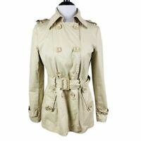 Green Tan Double Breasted Trench Coat Jacket Sz S Lightweight 100% Cotton Short
