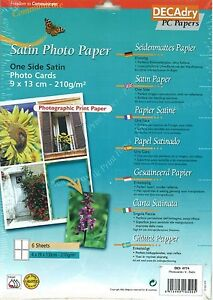 Decadry OCI-4774 Photographic Photo Cards Satin A4 Sheets One Side Satin