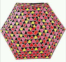 """NWT Betsey Johnson Auto Open/Close 42"""" Umbrella Multi Colored Hearts Pink/Black"""