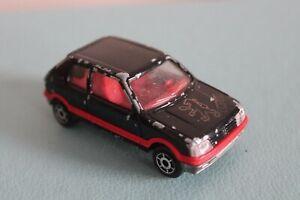 """Majorette 3"""" PEUGEOT 205 GTi Diecast Toy BLACK Car VINTAGE No:281 Scale 1/53"""