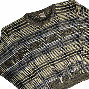 Vintage Mens Sweater XL Windridge Tan Geometric Acrylic Knit Crewneck Grandpa